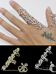 Top Quality Crystal Hollow Adjustable Ring Set Midi Rings(Set of 2)
