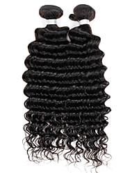 extensiones brasileñas profundas pelo de la onda, bienes remy humano armadura virginal del pelo, de grado 7a, color 1b