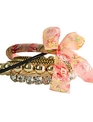 European Style Drill Pink Silk Ribbon Acrylic Beads Bracelet(6 Pcs A Set)
