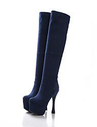 Mujer-Tacón Stiletto Plataforma-Plataforma Confort-Botas-Vestido Informal Fiesta y Noche-Vellón-Negro Azul Marrón