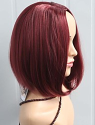 Fashion Lady  Wine Red Color Middle Long Synthetic Wigs