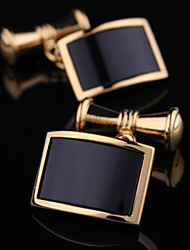 Fashion Copper Men Gift Jewelry Gold and Silver Black Agate Shirt Button Cufflinks(1Pair)