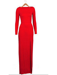 Women's Party/Cocktail Sexy Bodycon Dress,Solid Round Neck Maxi Long Sleeve Red / Black Cotton Fall