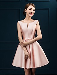 Knee-length Satin Bridesmaid Dress - A-line Notched with Bow(s)