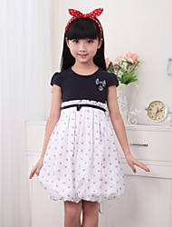 Girl's White Dress,Lace / Bow Cotton Summer