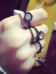 Black Queen Irregular Adjustable Ring Set Midi Rings(Set of 6)