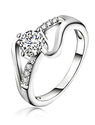 925 Silver Plated Zircon Statement Rings Wedding/Party/Daily/Casual 1pc