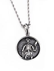 colares kalen®2016 novos jóia do punk crânio inoxidável 316L de aço colar de pingente de 760mm de cadeia longa dos homens