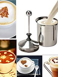 En acier inoxydable 400ml de lait à double pompe de maille café buse crémier mousseur cappuccino de mousse