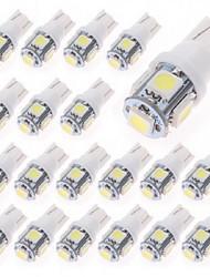 T10 20pcs 1W 5x5050smd 70-90lm 6000-6500k blanc froid led éclairage de la voiture (12V DC)