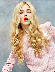 Long Fashion Blonde Color Syntheic Wave  Wig