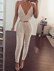 V-neck lace back Slim piece pants