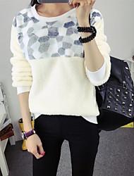 Women's Geometric / Solid Beige Pullover , Casual / Work Long Sleeve