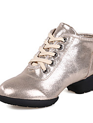 Modern Women's Dance Shoes Sneakers Breathable Leather Low Heel Black/Gold/Silver