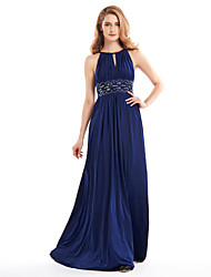 Lanting A-line Mother of the Bride Dress - Dark Navy Floor-length Sleeveless Jersey