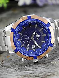 Men's European Style Fashion Dual Movement with Calendar Steel Watch Wrist Watch Cool Watch Unique Watch