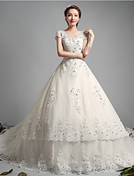 Ball Gown Wedding Dress - Ivory Chapel Train V-neck Tulle
