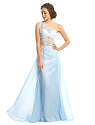 TS Couture® Formal Evening Dress - Sky Blue A-line One Shoulder Floor-length Chiffon / Lace