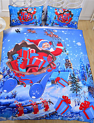 Direct Selling Blue Bedding Christmas Gifts New Year Bedclothes Reactive Printing Bed Sheets Bedlinen Twin Full Queen
