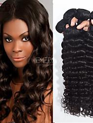 4pcs / lot cheveux vierge vague profonde extensions malaisiennes de cheveux humains naturel cheveux noirs boucle 8 '' - 30 '' tisse les