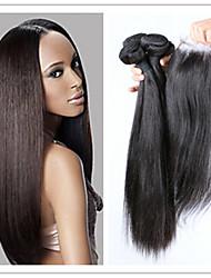 4pcs / lot bon marché brésilien soyeux faisceaux de cheveux droites avec fermeture supérieure en dentelle 100% cheveux humains tisse des