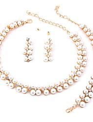 Fashion imitation pearls gilded set (necklace, earrings,bracelet)