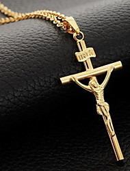 Retro Crucifix High Polished Shape Pendant Necklace