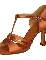 Chaussures de danse(Noir Marron Argent Or Autre) -Non Personnalisables-Talon Aiguille-Satin Similicuir-Latine