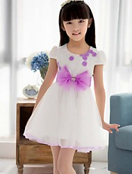 Girl's Pink / Purple Dress,Floral / Bow Spandex Summer