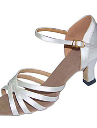 Non Customizable Women's Dance Shoes Latin/Swing/Salsa/Samba Satin/Leatherette Chunky Heel Brown / Silver / Gold