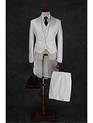 Suits Tailored Fit Notch Double Breasted Four-buttons Cotton Blend Solid 2 Pieces Ivory