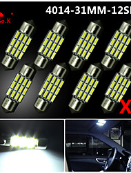 8X NEW White 31mm 12 4014 SMD Festoon Dome Map Interior LED Light Lamp DE3175 3022 12V