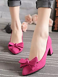 Women's Shoes Suede Bowknot Pumps OL Style Chunky Heel Comfort / Pointed Toe Heels Dress / Casual