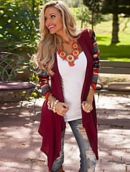 Women's Patchwork Red Wrap , Asymmetrical Long Sleeve