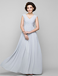 LAN TING BRIDE A-line Mother of the Bride Dress - Elegant Floor-length Sleeveless Chiffon with Beading Criss Cross