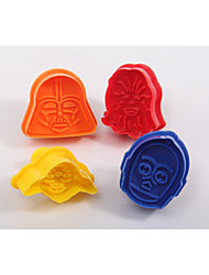 4pcs Star Wars Darth Vader Yoda Chewbacca Fondant Mold Plunger Cookie Cutters