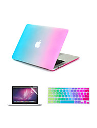 "Case for Macbook Air 11.6""/13.3"" Color Gradient ABS Material 3 in 1 Rainbow Colorful Rubberized Hard Case Cover +Keyboard Cover+Screen protector"