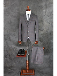 Suits Tailored Fit Notch Single Breasted Two-buttons Cotton Blend Checkered / Gingham 3 Pieces Gray Straight Flapped Double (Two)Light
