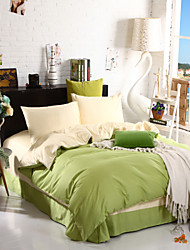 Two-Tone Bedsheet Pillowcases Duvet Cover(Canary+Green)
