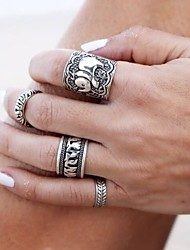 Antique Silver Carved Flower Adjustable Ring Set Midi Rings(Set of 4)