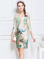 Women's Casual Peacock Print Round Neck ¾ Sleeve Dress