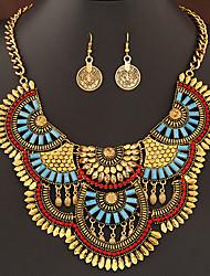 European Style Fashion Metal Exaggerated Imitation Gemstones Luxury Necklace Earrings Set