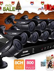 zosi® système de caméra de sécurité 8 canaux H.264 HDMI d1 DVR 8 pcs 800tvl vision nocturne de 120ft de CCTV en plein air