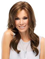 Women lady Long Curly Wigs Mixed Color Synthetic Hair Wigs