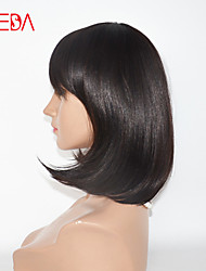 12inch Dark Brown Short BOB Cut wigs with Bang High Virgin Brazilian Short Human Hair Wigs BOB For Black women