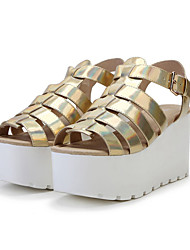 Women's Shoes Leather Wedge Heel Wedges / Platform / Creepers / Comfort Sandals Office & Career / CasualBlack / Silver /