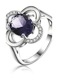 925 Silver Plated Purple Crystal Flower statement Rings Wedding/Party/Daily/Casual 1pc
