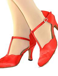 Customizable Women's Dance Shoes Satin Satin Modern Sneakers Chunky Heel Indoor / Outdoor Red