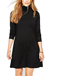 Women's Solid Black / Gray Dress , Sexy / Casual Turtleneck Long Sleeve