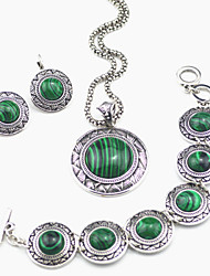 Vintage Look Antique Silver Green Malachite Stone Necklace Earring Bracelet Jewelry Set(1Set)